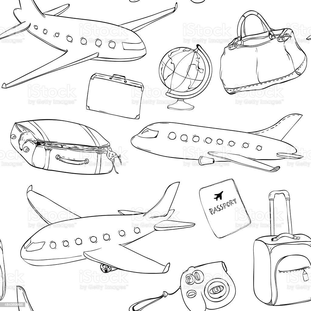 Ilustración de Patrón Sin Costuras De Viaje Con Aviones Planeta ...
