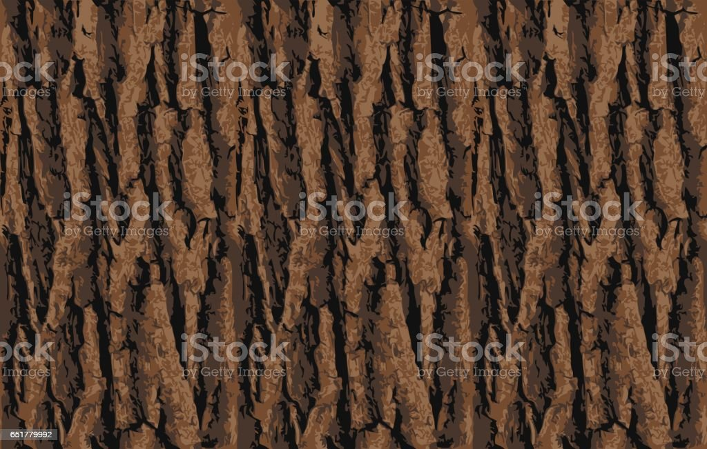 Seamless tree bark texture. Endless wooden background for web page fill or graphic design. Oak or maple vector pattern vector art illustration