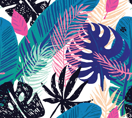 Seamless trendy pattern with blue exotic palm leaves on a white background