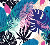 Seamless trendy pattern with blue exotic palm leaves on a white background. Vector botanical illustration