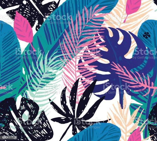 Seamless trendy pattern with blue exotic palm leaves on a white vector id690411128?b=1&k=6&m=690411128&s=612x612&h=ghuib9oxu9eibj2q2yfiyylase2mfwzw0ilbs1mu5wg=