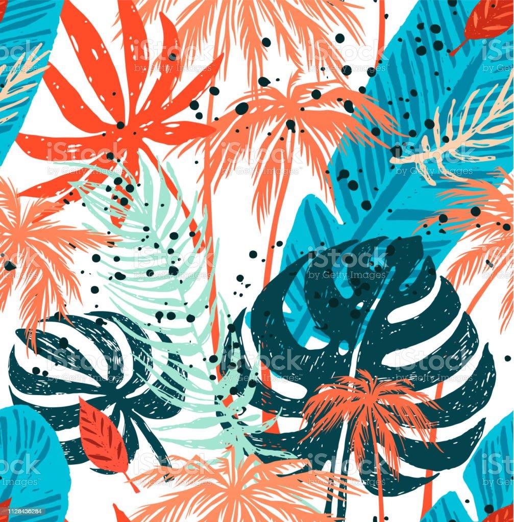7b5b635036 Patrones moda sin fisuras con hojas de Palma exótica sobre un fondo blanco