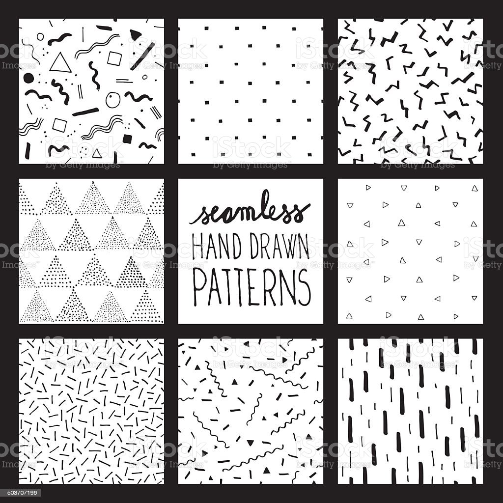 Seamless trendy patterns vector art illustration