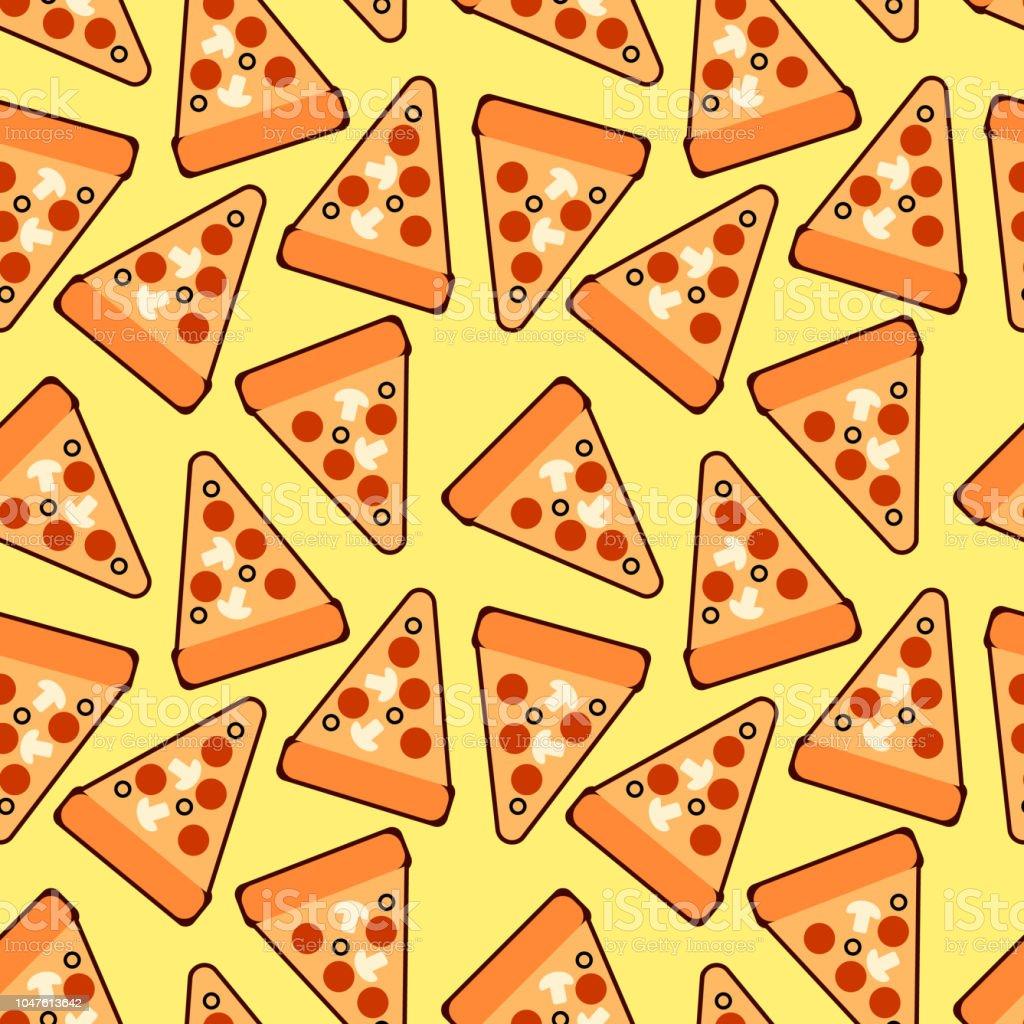 Modèle de tranches de pizza branché sans soudure. Pizza mignon vector. Pour les tissus, papiers peints, papier d'emballage, cartes et illustration web sur fond jaune - clipart vectoriel de Abstrait libre de droits