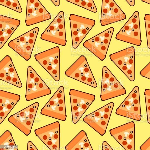 Modèle De Tranches De Pizza Branché Sans Soudure Pizza Mignon Vector Pour Les Tissus Papiers Peints Papier Demballage Cartes Et Illustration Web Sur Fond Jaune Vecteurs libres de droits et plus d'images vectorielles de Abstrait