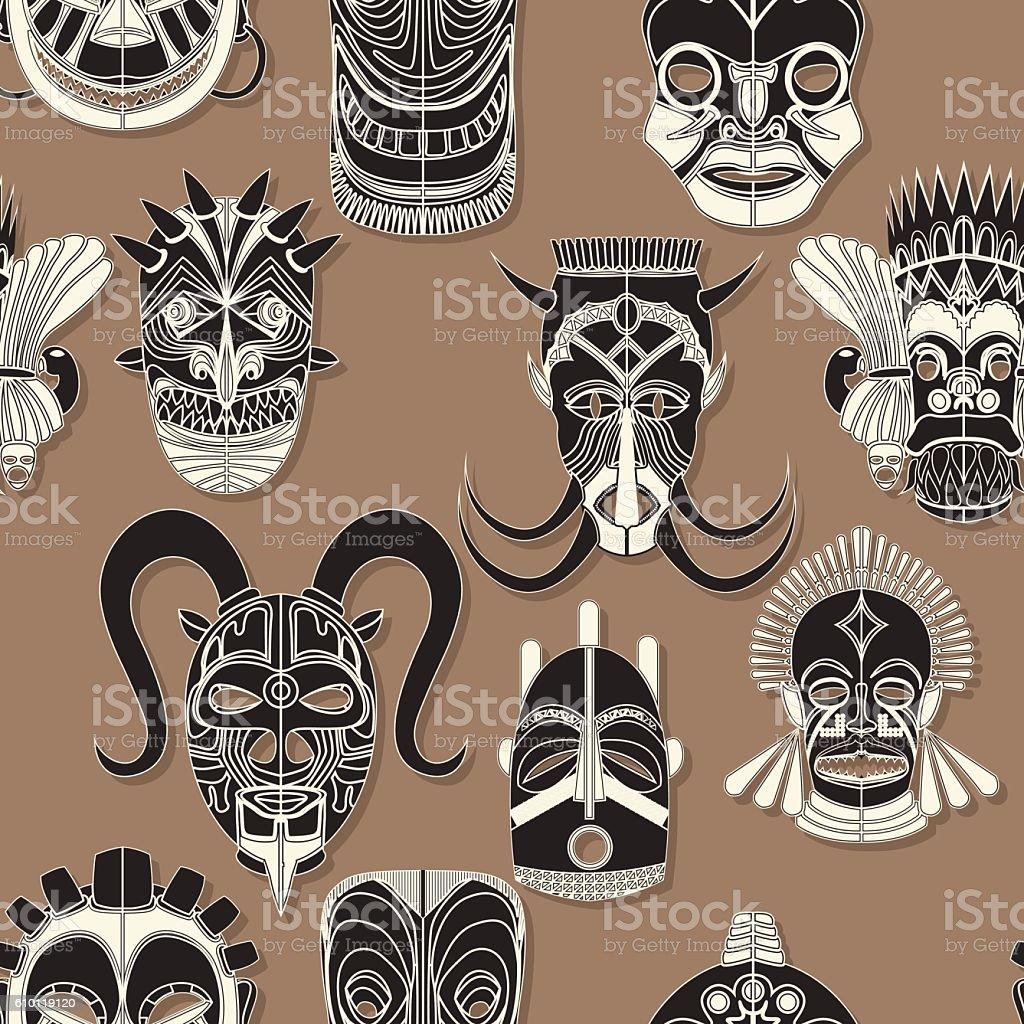 Seamless tribal mask vector art illustration
