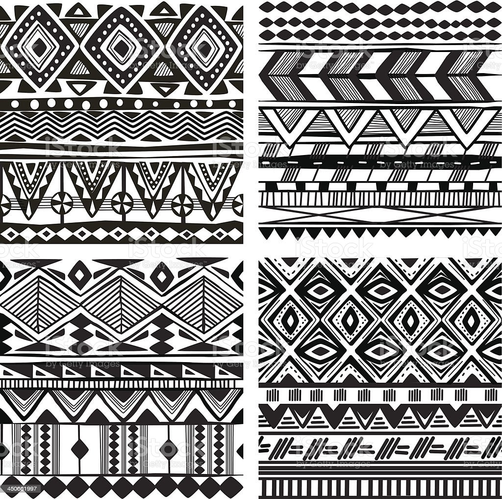 Seamless tribal texture vector art illustration