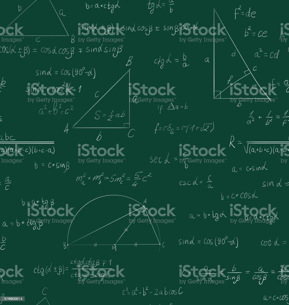 Seamless trigonometry pattern on green - Illustration vectorielle
