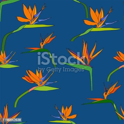istock Seamless tropic pattern with exotic flowers paradise Strelitzia dark blue palm leaves. Vector tropical stock illustration.African plant flower.Design textile, wallpaper, wrapping paper, fabric, print. 1196542638