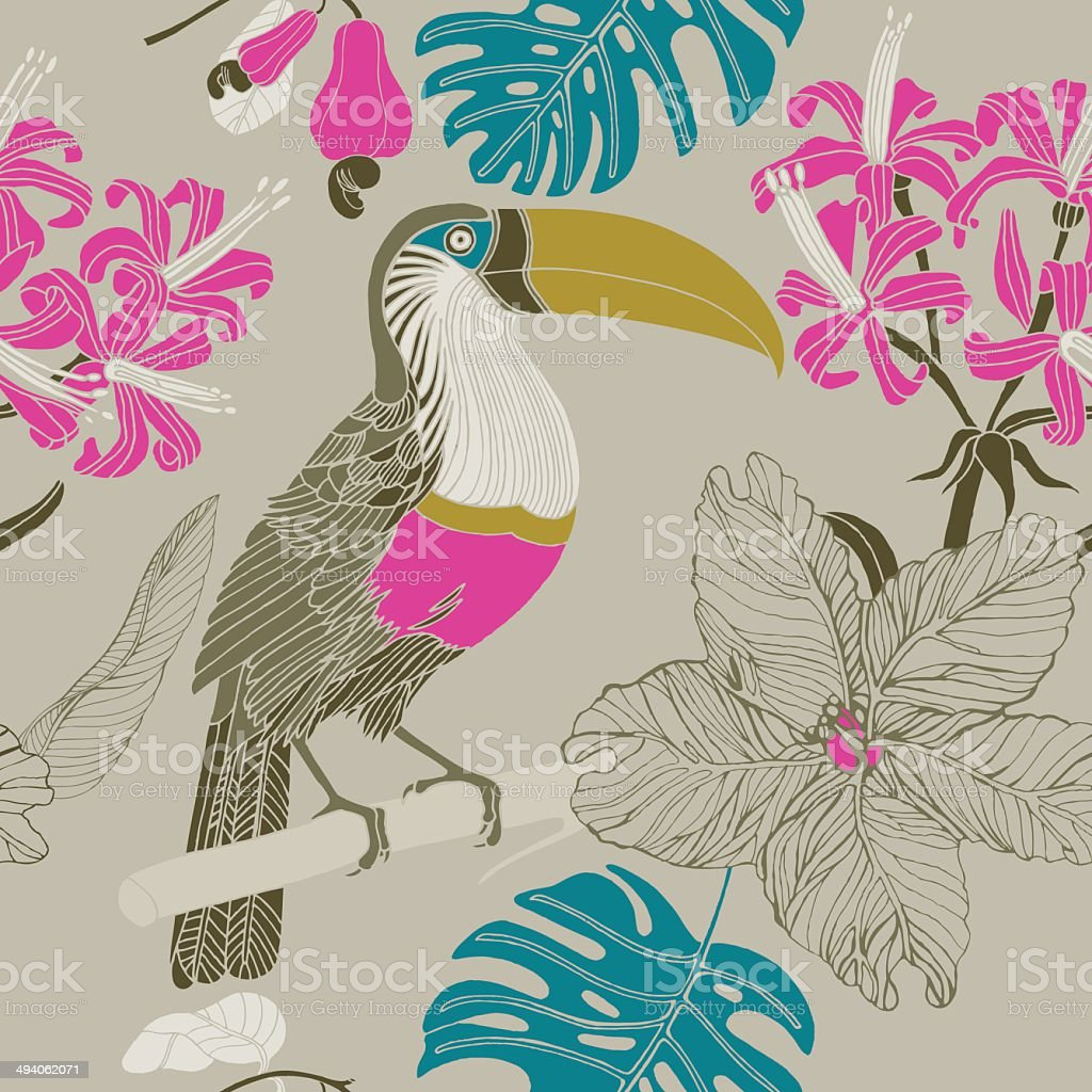 Seamless tropical floral pattern background with toucan bird. vector art illustration