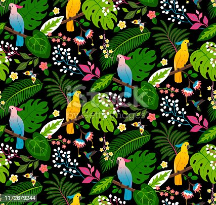 Seamless floral pattern with parrots, tropical flowers and leaves on a black background.