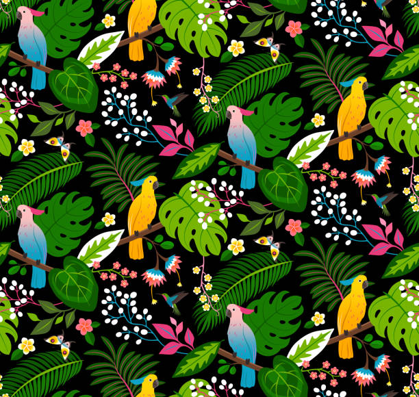 Seamless tropical floral pattern Seamless floral pattern with parrots, tropical flowers and leaves on a black background. exotic animals stock illustrations