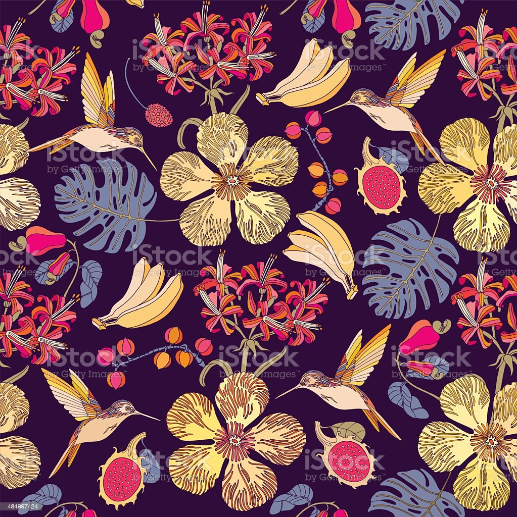 Seamless tropical flowers with bananas.