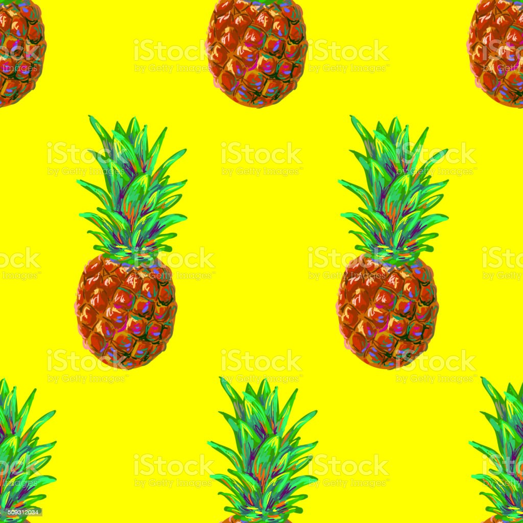 Seamless tropical fruit pattern with pineapple vector art illustration