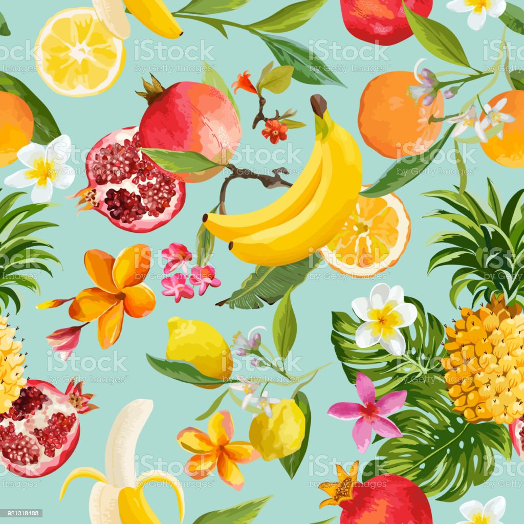 Seamless Tropical Fruits Pattern. Exotic Background with Pomegranate, Lemon, Flowers and Palm Leaves for Wallpaper, Wrapping Paper, Fabric. Vector illustration royalty-free seamless tropical fruits pattern exotic background with pomegranate lemon flowers and palm leaves for wallpaper wrapping paper fabric vector illustration stock illustration - download image now