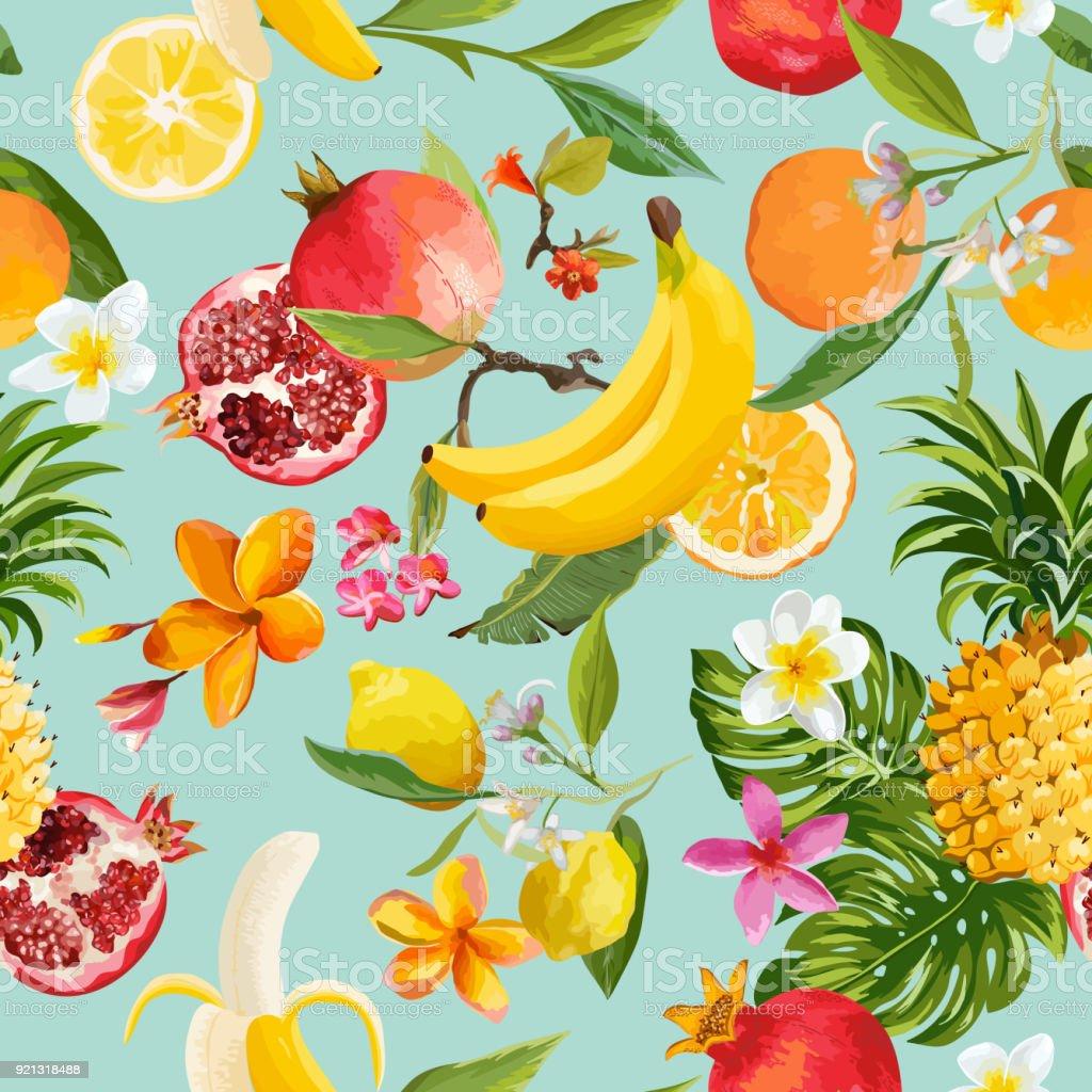 Patrón transparente de frutas tropicales. Fondo exótico con Granada, limón, flores y palmeras hojas para papel pintado, papel de embalaje, tela. Ilustración de vector - ilustración de arte vectorial