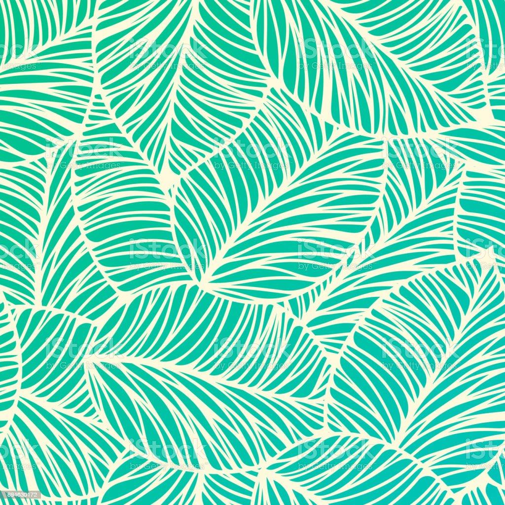 Seamless Tropical Leaf Background - Векторная графика Абстрактный роялти-фри