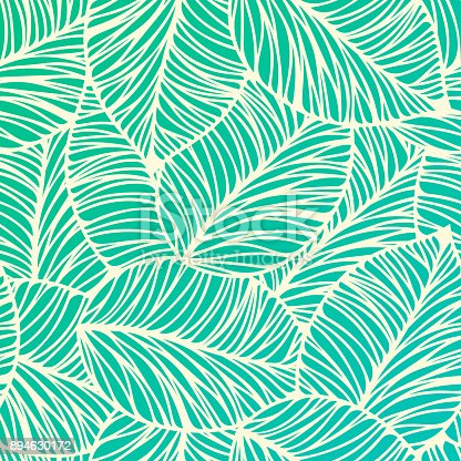 Seamless tropical leaf background illustration.