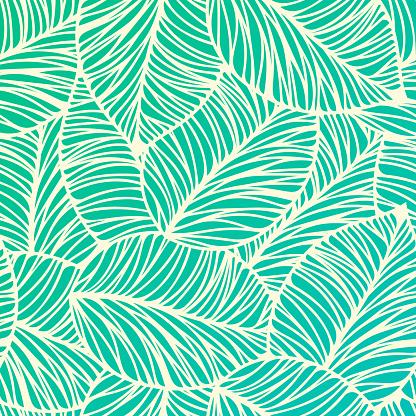 Sorunsuz Tropikal Yaprak Arka Plan Stok Vektör Sanatı & ABD'nin Daha Fazla Görseli