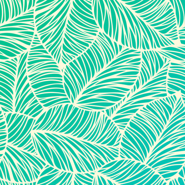 seamless tropical leaf background - palm tree stock illustrations