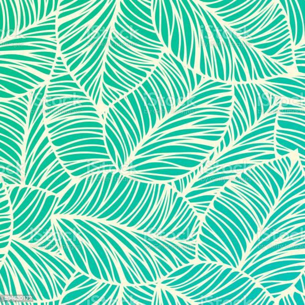 Seamless Tropical Leaf Background — стоковая векторная графика и другие изображения на тему Абстрактный