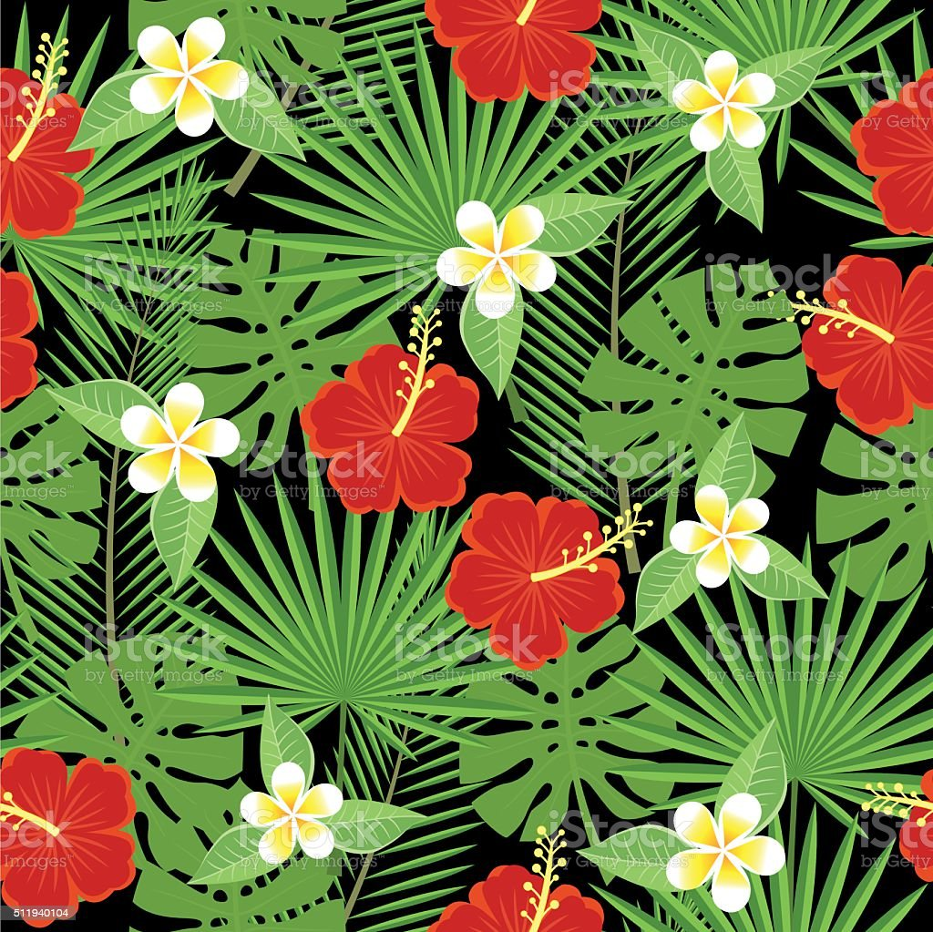 seamless tropical leaves and flowers vector art illustration