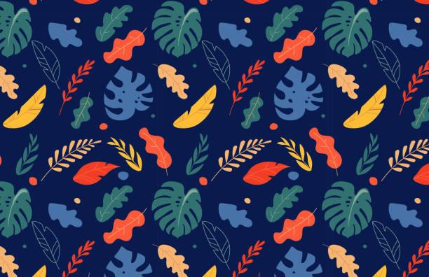 nahtlose tropische blätter muster, dschungel farbigen hintergrund. vektor-design - hibiskusgarten stock-grafiken, -clipart, -cartoons und -symbole