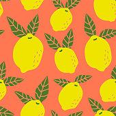 Seamless lemon fruit pattern ready to use