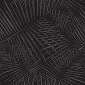 A simple, modern seamless tropical palm frond pattern. Great for fabrics, backgrounds and more.