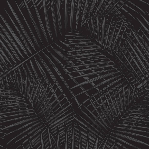 Seamless Tropical Palm Frond Pattern A simple, modern seamless tropical palm frond pattern. Great for fabrics, backgrounds and more. hawaiian culture stock illustrations