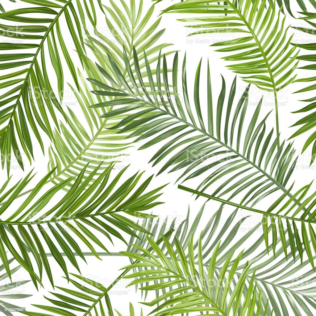 Seamless Tropical Palm Leaves Background - for design, scrapbook vector art illustration