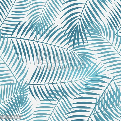 Seamless vaporwave palm tree leaves background.