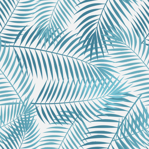 seamless tropical palm leaves - palm leaf stock illustrations, clip art, cartoons, & icons