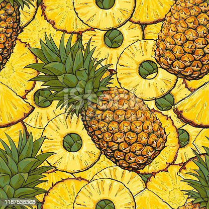 Seamless tropical pattern of pineapple or ananas sketch vector illustration. Exotic fruits repeatable background is perfect for summer invitation cards and fabric print.