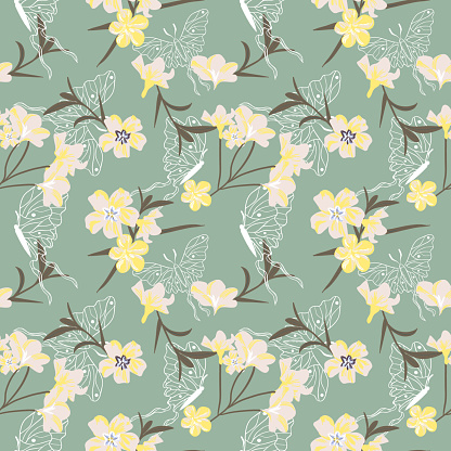 Seamless tropical pattern of white oleander and butterflies in trendy colors.