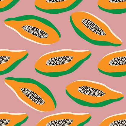 Seamless tropical pattern orange halved papaya on pink background, hand drawn, fabric, wrapping paper, phone cover, calico style, modern