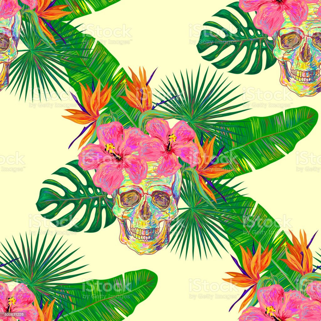 Seamless tropical pattern palm leaves, exotic flowers and skull vector art illustration