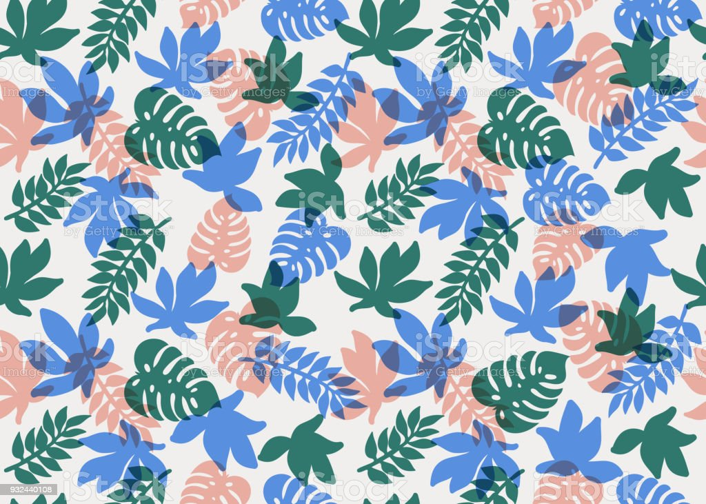 Seamless Tropical Pattern Tropical Plants And Palm Leaves ...