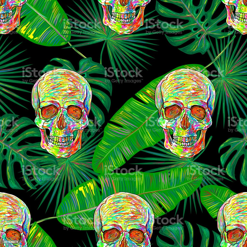Seamless tropical pattern vector art illustration