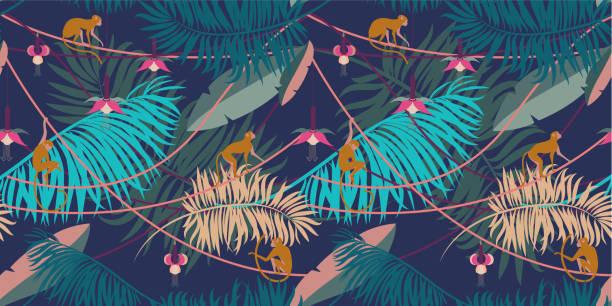 ilustrações, clipart, desenhos animados e ícones de sem costura padrão tropical. - macaco