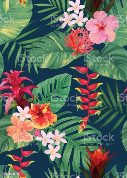 Seamless tropical pattern with guzmania hibiscus flowers and palm vector id926996318?b=1&k=6&m=926996318&s=612x612&h=z gvpreaw07gl bnmszle1a 5ihokv44azfzpzv5doo=