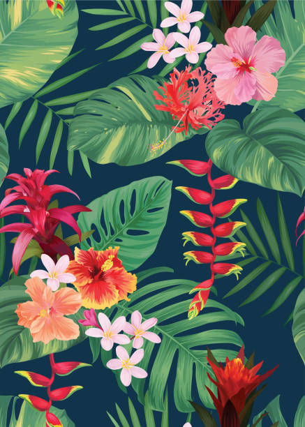 Seamless tropical pattern with guzmania, hibiscus flowers and palm leaves background. Seamless tropical pattern with guzmania, hibiscus flowers and palm leaves background. Vector set of exotic tropical garden for holiday invitation, greeting card and textile fashion design. tropical flower stock illustrations