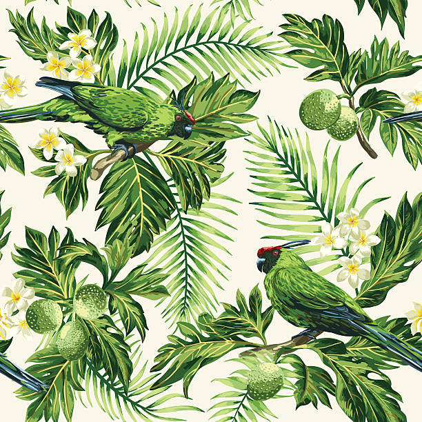 Seamless tropical pattern with leaves, flowers and parrots. Seamless exotic tropical pattern with leaves, fruits, flowers and birds. Breadfruit, palm, plumeria, parrots. Vector illustration. animal markings stock illustrations