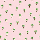 Seamless tropical pattern with palm trees.