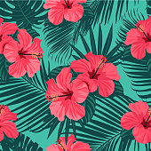 Seamless hand drawn tropical vector pattern bright hibiscus flowers and exotic palm leaves on dark background.