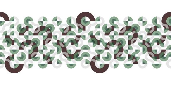 Seamless Truchet vector horizontal or vertical Border.