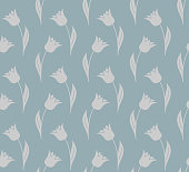 Vector illustration of a seamless tulip pattern background. EPS10, global colors, easy to modify.