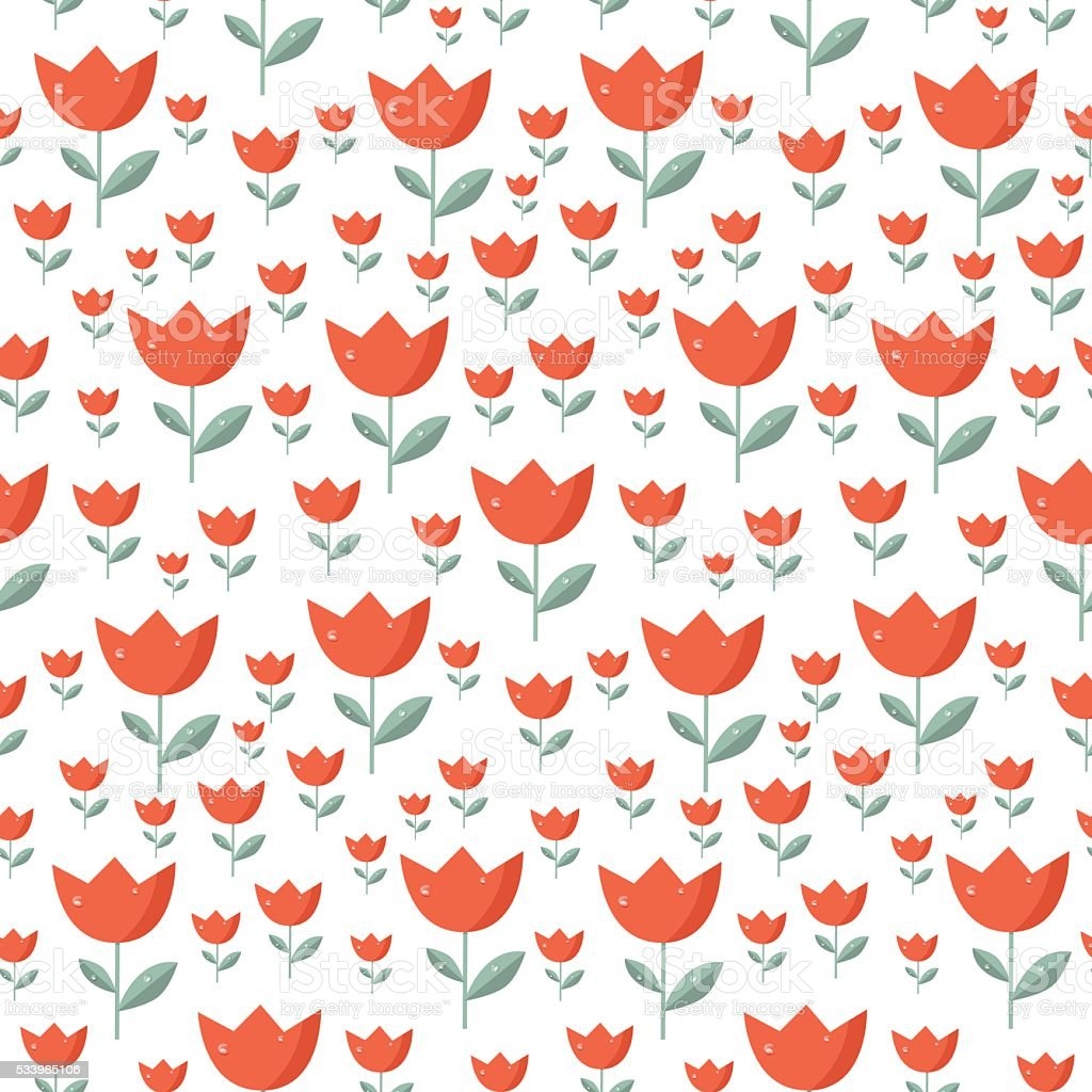 seamless tulip pattern stock illustration - download image now