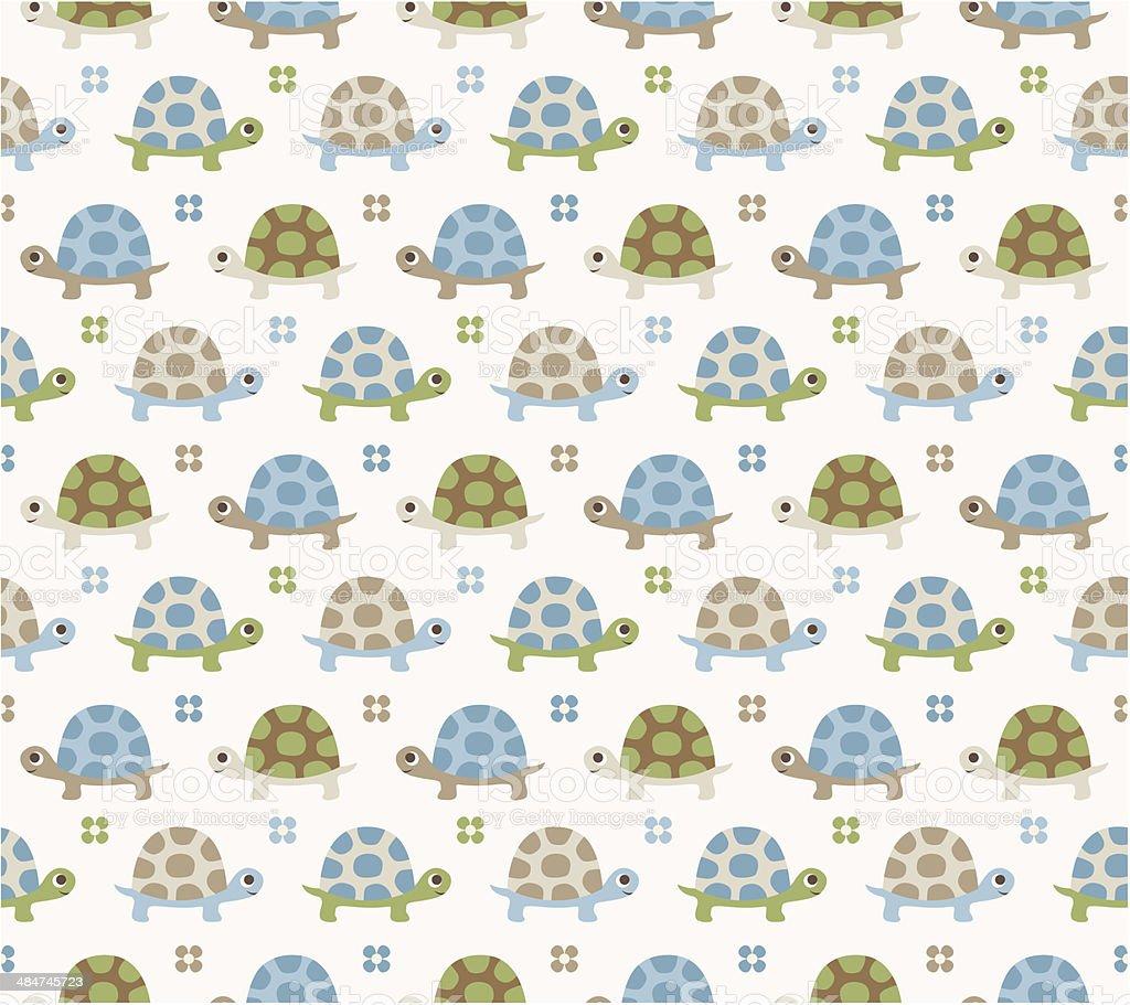 seamless turtle pattern vector art illustration