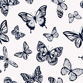 Vector pattern with dark silhouettes of butterflies on a light background in a flat style.
